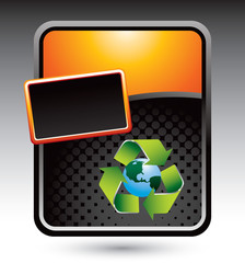 Recycle symbol around earth on gold stylized ad