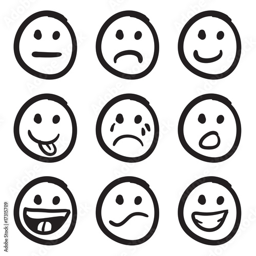 Cartoon smiley faces doodles stockfotos und lizenzfreie vektoren - Smiley simple noir et blanc ...
