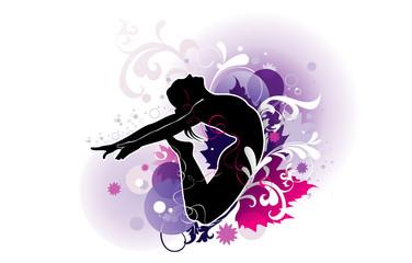 Fotobehang Bloemen vrouw Ballet Girl Vector