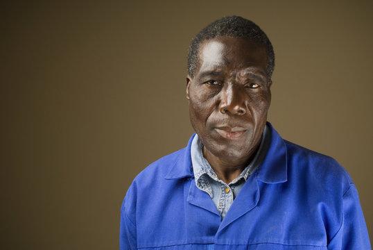 African or American black senior worker blue collar foreman