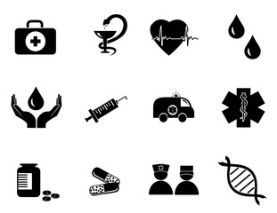 vector of black and white medicine icons