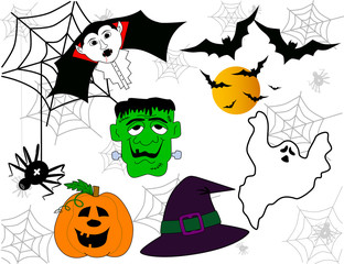 Vector of halloween faces set
