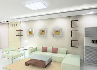 a living room in the apartment