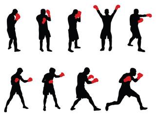 Fototapeta nine vector boxers with red gloves obraz