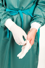 Surgeon before an operation with gloves