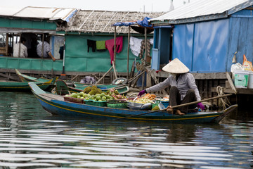 woman selling fruits on a boat in fishing village cambodia