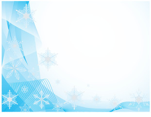 Whirling snowflakes on a blue background