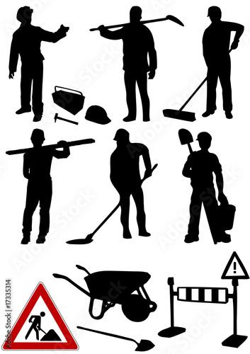 Bauarbeiter schwarz weiß  Baustelle