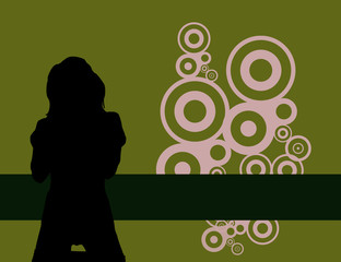 Image of sexy grunge female on green background