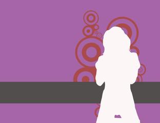 Image o sexy grunge female on violet background