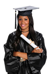 Young Woman Dressed in Graduation Gown and Mortarboard