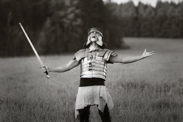 Agressive Roman soldiers. Photo.