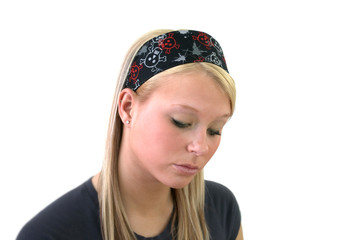 Portrait of a beautiful female teenager wearing a headband