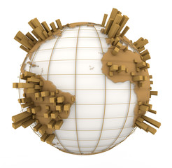 Earth Graph in white and brown