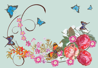 blue butterflies and rose flowers
