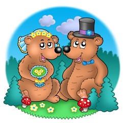 Poster Forest animals Wedding image with bears on meadow