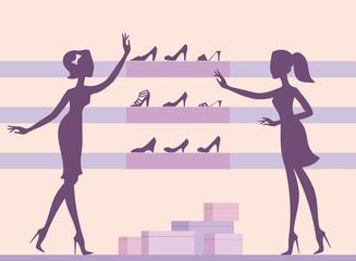 Girls in shoe shop