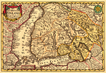 Antique map of Finland