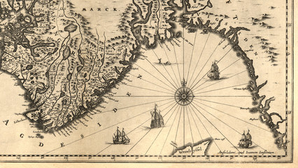 Ancient map of a southern part of Norway (1630)