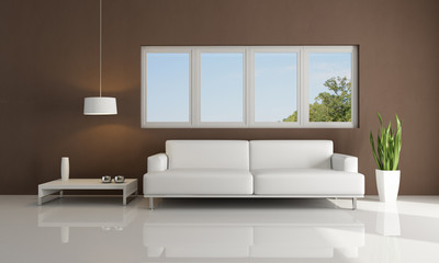 brown and white modern living room