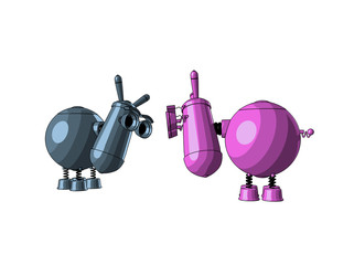 Two cute robots - donkeys