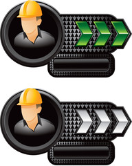Construction worker on green and silver arrow advertisements