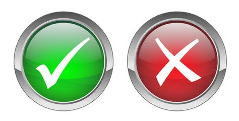 Tick & Cross Buttons (vector ; green+red)
