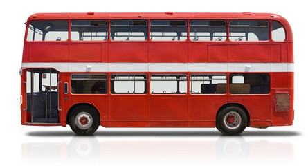 Photo on textile frame London red bus Red Double Decker Bus on White