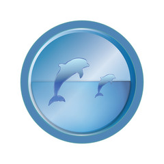 dolphins in the blue - abstract web button icon