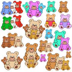 teddybaeren in verschiedenen Farben, Grössen und Gruppen