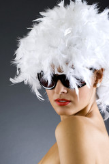 picture of carnival woman over white background