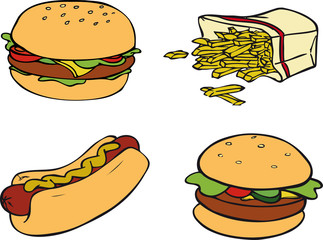 Pommes, Hamburger, Hotdog, Fast Food