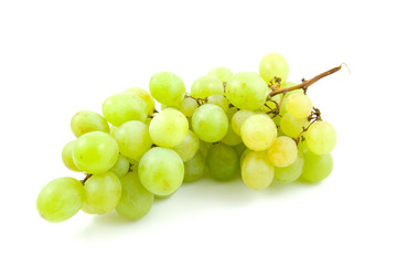 cluster of fresh white grapes over white background
