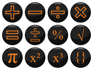 Mathematical related black icon set individually layered