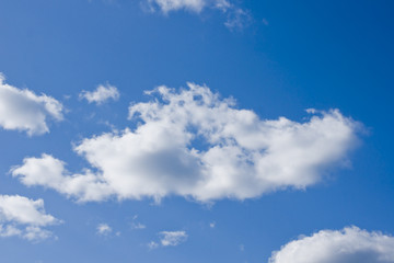 one single puffy cloud on blue sky background