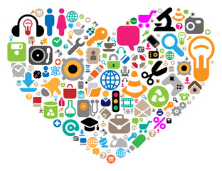Set of icons in heart shape