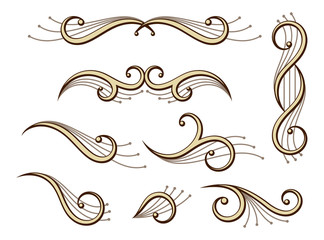 set of abstract scroll ornaments and symmetries