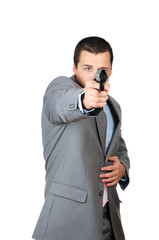 Person with a gun isolated on white background