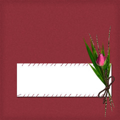 Card with rose and bamboo from desing