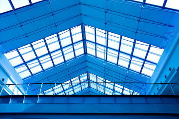 Abstract blue geometric ceiling
