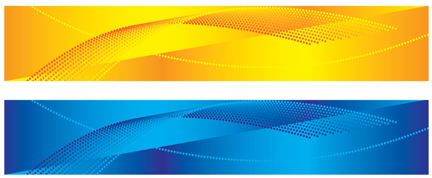 Yellow and blue abstract banners