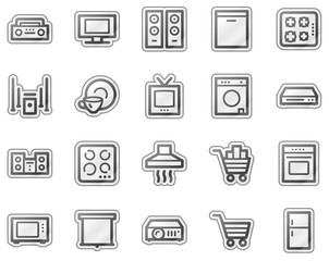 Home appliances web icons, grey sticker series