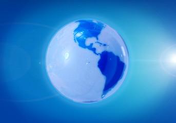 Glass glossy globe - America side