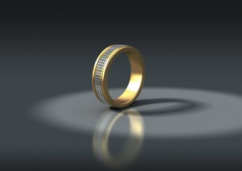 3D jewelry gold ring with white diamonds