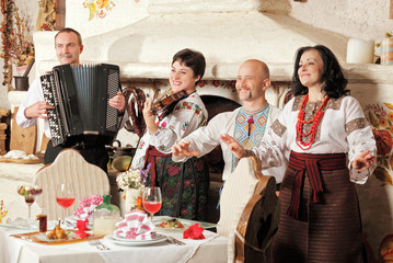 Ukrainian ethnic music band concert in traditional restaurant