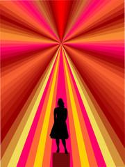 Junge Frau-Silhouette- im Ballkleid vor abstraktem Hintergrund