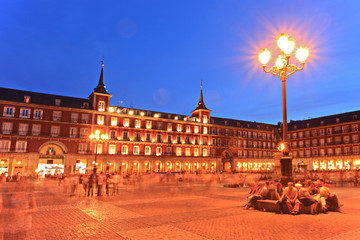 Plaza Mayor square, Madrid, Spain, by night
