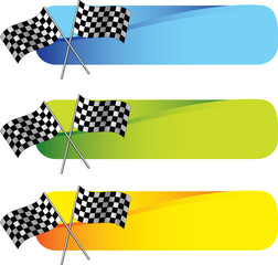 Racing checkered flags on colored tabs