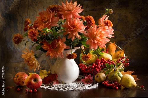 обои на рабочий стол натюрморт с цветами и фруктами № 226443  скачать