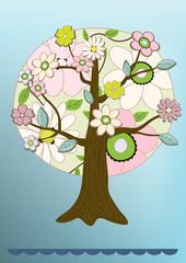 vector flower tree card